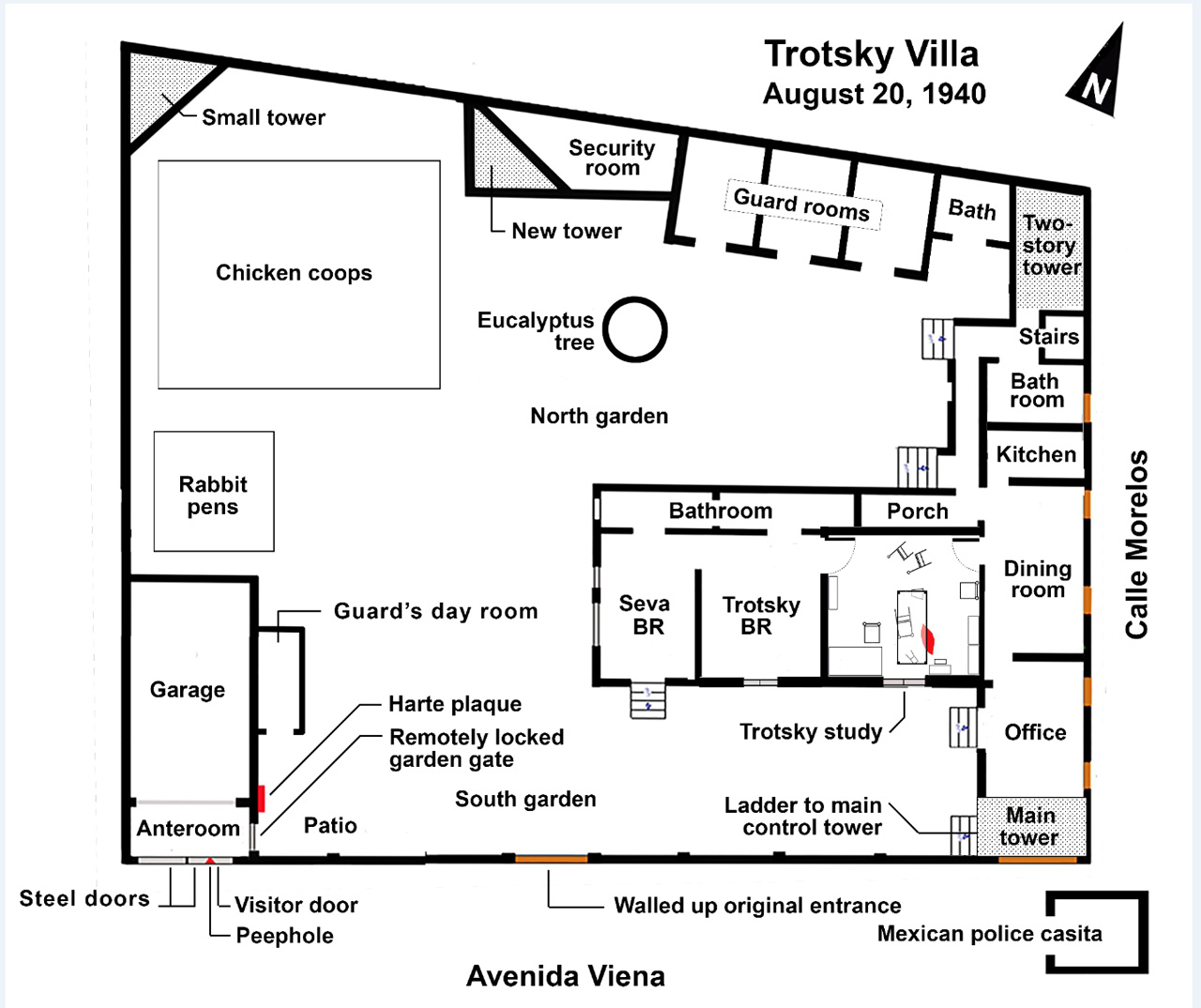 Trotsky Compound 1940 Assassin Wiring Diagram Photo From Isaac Don Levine Mind Of An 1959 The Negative Is Flipped In Book I Have Mirrored It Correctly This After Bought