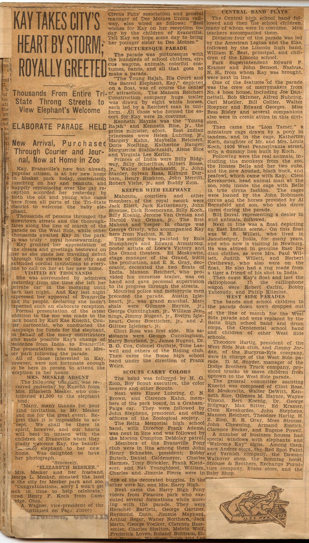 How to scrapbook newspaper clippings -  Was Superintendent For Evansville Mesker Zoo From The Beginning Until Around 1936 These Are Evansville Newspaper Clippings From His Scrapbook